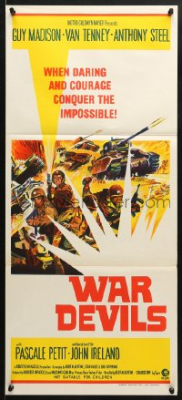 5k973 WAR DEVILS Aust daybill 1971 when daring and courage conquer the impossible, cool war art!