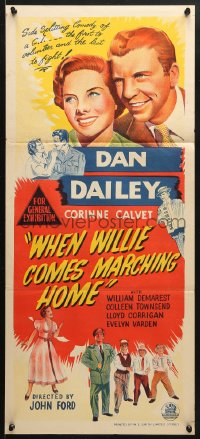 5k976 WHEN WILLIE COMES MARCHING HOME Aust daybill 1950 John Ford directed, wacky Dan Dailey!