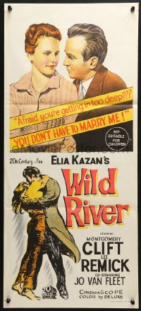 5k982 WILD RIVER Aust daybill 1960 directed by Elia Kazan, Montgomery Clift embraces Lee Remick!