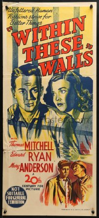 5k984 WITHIN THESE WALLS Aust daybill 1945 art of Thomas Mitchell, Mary Anderson!
