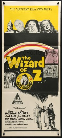 5k985 WIZARD OF OZ Aust daybill R1970s Victor Fleming, great images of Judy Garland, all-time classic!