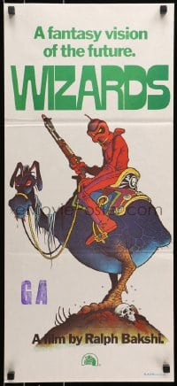 5k986 WIZARDS Aust daybill 1977 Ralph Bakshi directed, cool fantasy art by William Stout!