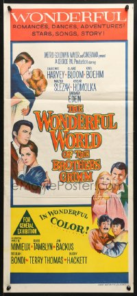 5k988 WONDERFUL WORLD OF THE BROTHERS GRIMM Aust daybill 1964 Harvey, Bloom, Boehm, George Pal!
