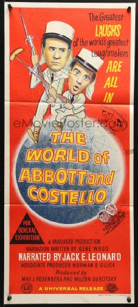 5k989 WORLD OF ABBOTT & COSTELLO Aust daybill 1965 Bud & Lou are the greatest laughmakers!