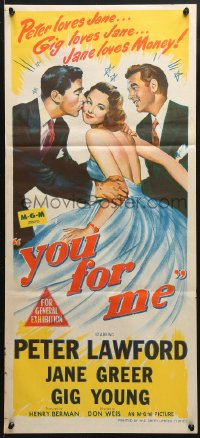 5k992 YOU FOR ME Aust daybill 1952 pretty Jane Greer between Peter Lawford & Gig Young!