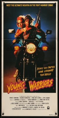 5k993 YOUNG WARRIORS Aust daybill 1984 Ernest Borgnine, James Van Patten, biker & hot babe on cycle!