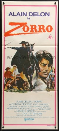 5k998 ZORRO Aust daybill 1976 masked hero Alain Delon, all for fun and fun for all!