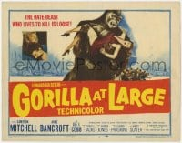 5m123 GORILLA AT LARGE TC 1954 great artwork of giant ape holding screaming sexy Anne Bancroft!