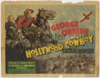 5m137 HOLLYWOOD COWBOY TC 1937 art of cowboy George O'Brien & Cecilia Parker with cattle herd!