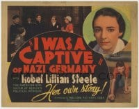5m142 I WAS A CAPTIVE OF NAZI GERMANY TC 1936 true story of an American girl imprisoned by Nazis!
