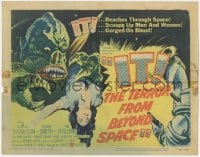 5m155 IT! THE TERROR FROM BEYOND SPACE TC 1958 great artwork of wacky monster with victim!