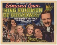 5m167 KING SOLOMON OF BROADWAY TC 1935 Edmund Lowe, Dorothy Page & Pinky Tomlin in New York!