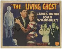 5m182 LIVING GHOST TC 1942 James Dunn holding gun, flashlight, and Joan Woodbury & both are scared!