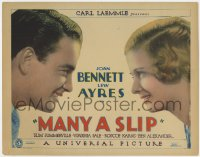 5m191 MANY A SLIP TC 1931 c/u of Lew Ayres & beautiful Joan Bennett smiling at each other, rare!