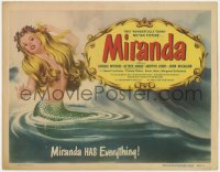 5m199 MIRANDA TC 1949 wonderful art of sexy topless mermaid Glynis Johns, she has everything!