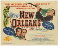 5m214 NEW ORLEANS TC 1947 great image of Woody Herman playing his clarinet in Louisiana!