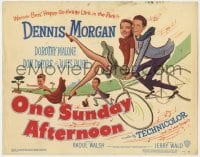 5m223 ONE SUNDAY AFTERNOON TC 1949 wacky artwork of Dennis Morgan & Dorothy Malone on bike!