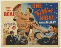 5m224 ONE THRILLING NIGHT TC 1942 great image of John Beal carrying pretty Wanda McKay!