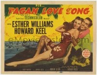 5m229 PAGAN LOVE SONG TC 1950 art of sexy Esther Williams in sarong w/ Howard Keel in Tahiti!