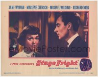 5m730 STAGE FRIGHT LC #7 1950 close up of Michael Wilding staring at Jane Wyman, Alfred Hitchcock!