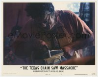 5m758 TEXAS CHAINSAW MASSACRE LC #7 1974 c/u of Gunnar Hansen as Leatherface holding chainsaw!