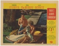 5m761 THERE'S ALWAYS TOMORROW LC #5 1956 Fred MacMurray & Barbara Stanwyck towel off after a swim!