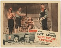 5m766 THEY GOT ME COVERED LC #6 R1951 Bob Hope w/skiing mannequins in store window, Dorothy Lamour!