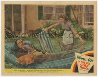 5m767 THIN MAN GOES HOME LC #8 1944 William Powell resting, Myrna Loy struggling w/folding chair!