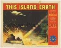 5m768 THIS ISLAND EARTH LC #3 1955 cool image of two alien spaceships attacking Earth with rays!