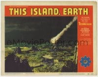 5m769 THIS ISLAND EARTH LC #7 1955 cool image of comet-like bomb crashing in barren area!