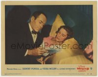 5m816 WRONG MAN LC #2 1957 Alfred Hitchcock, Henry Fonda in tuxedo with Vera Miles in bed!