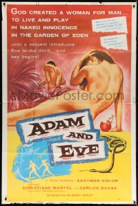 5p028 ADAM & EVE 40x60 1958 sexiest art of naked man & woman in the Mexican Garden of Eden, rare!
