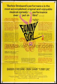 5p029 FUNNY GIRL 40x60 1969 Barbra Streisand, Omar Sharif, directed by William Wyler!