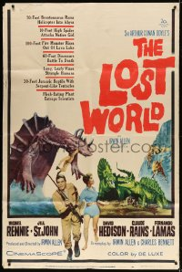 5p033 LOST WORLD 40x60 1960 Michael Rennie battles dinosaurs in the Amazon Jungle, ultra rare!