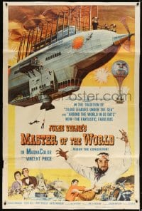 5p034 MASTER OF THE WORLD 40x60 1961 Jules Verne, Vincent Price, art of big flying machine, rare!