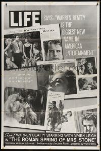 5p035 ROMAN SPRING OF MRS. STONE 40x60 1961 Warren Beatty, Vivien Leigh, rare Life Magazine promo!