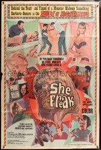 5p036 SHE FREAK 40x60 1967 sexy girls & side-show freaks in the Alley of Nightmares, ultra rare!