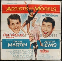 5p072 ARTISTS & MODELS 6sh 1955 Dean Martin & Jerry Lewis, sexy Shirley MacLaine, great art, rare!