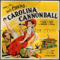 5p076 CAROLINA CANNONBALL 6sh 1955 wacky art of Judy Canova on train tracks, sci-fi comedy!