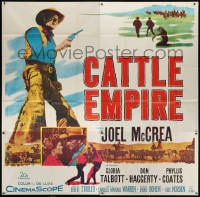 5p077 CATTLE EMPIRE 6sh 1958 cool full-length image of cowboy Joel McCrea with gun drawn, rare!