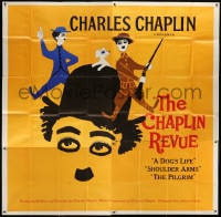 5p078 CHAPLIN REVUE 6sh 1960 Charlie comedy compilation, great artwork by Leo Kouper!