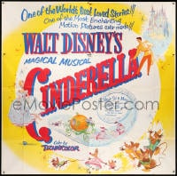 5p080 CINDERELLA 6sh R1957 Disney's classic musical cartoon, the greatest love story ever told!