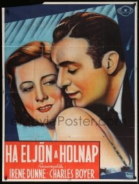5p015 WHEN TOMORROW COMES Czech 37x49 1939 great romantic c/u art of Irene Dunne & Charles Boyer!