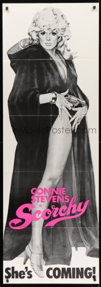 5p045 SCORCHY door panel 1976 full-length art of sexy barely-dressed Connie Stevens in black cape!