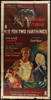 5p058 KID FOR TWO FARTHINGS English 3sh 1956 art of sexy Diana Dors, directed by Carol Reed!