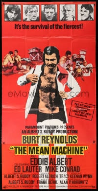 5p059 LONGEST YARD English 3sh 1974 Robert Aldrich football comedy, Burt Reynolds, Mean Machine!