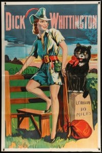 5p061 DICK WHITTINGTON stage play English 40x60 1930s cool artwork of sexy female lead & cat!