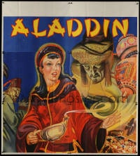 5p064 ALADDIN stage play English 6sh 1930s art of female lead with genie, lamp & treasure!