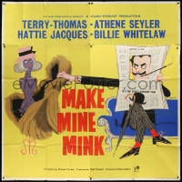 5p067 MAKE MINE MINK English 6sh 1961 art of Terry-Thomas stealing sexy woman's clothes, rare!