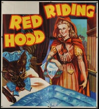 5p068 RED RIDING HOOD stage play English 6sh 1930s art of Red by wolf disguised as grandma in bed!